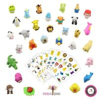 Hamdol Premium 30 Animal Collectible Set of Adorable Japanese Style Novelty Erasers - Amazing Variety with No Duplicates - Puzzle Toys Best for Party Favors W/ Bonus 120 Collectible Animal Stickers