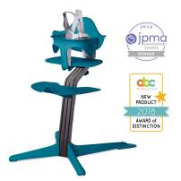 Nomi High Chair, Ocean – Black Oak Wood, Modern Scandinavian Design with a Strong Wooden Stem, Baby through Teenager and Beyond with Seamless Adjustability, Award Winning Highchair