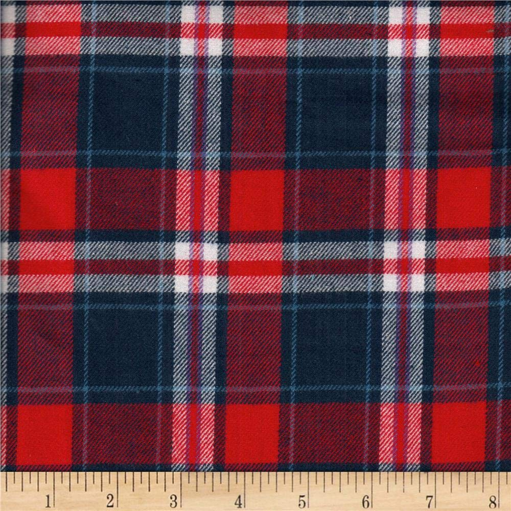 Textile Creations Windstar Twill Flannel Plaid Red/White/Blue Fabric by the Yard