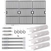 Hisencn Repair kit Replacement for Charbroil 463420507, 463420509, 463460708, 463460710 Gas Grill Models, Grill Burner, Adjustable Carryover Tubes, Heat Plates Shield Tent, Cast Iron Grill Grates