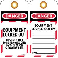 "NMC LOTAG17 Lockout Tag, ""DANGER EQUIPMENT LOCKED OUT. . ."", 3"" Width x 6"" Height, Unrippable Vinyl, Red/Black on White (Pack of 10)"