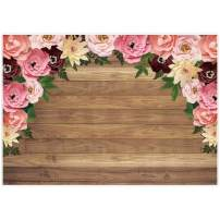Allenjoy Rustic Wood Pink Paper Flower Backdrop Wooden Floral Kids Girls Valentine's Mother's Day Birthday Party Banner Decor Baby Bridal Shower 7x5ft Photography Background Newborn Photo Booth Props