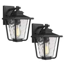 Osimir Outdoor Wall Sconce 2 Pack, One Light Exterior Wall Mount Lantern in Black Finish with Bubble Glass Lamp Shade, Modern Outdoor Lighting Fixtures 2145/1W-2PK