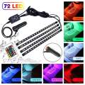 Car LED Strip Light, 4pcs 72 LED DC 12V 16 Color RGB Music Car Interior Light LED Under Dash Lighting Kit with Sound Active Function and Wireless Remote Control, Car Charger Included