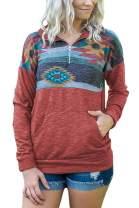 Assivia Women's Floral Print Sweatshirt Zip up Lapel Pullovers Long Sleeve Tops with Pockets