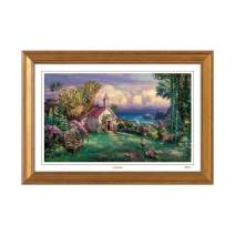 Cao Yong Print Artwork - Licensed Copy of CAO Youg Masterpiece - (Paradise) Decorative Painting with Solid Wood Frame, Wall Art Decor Poster for Home and Office