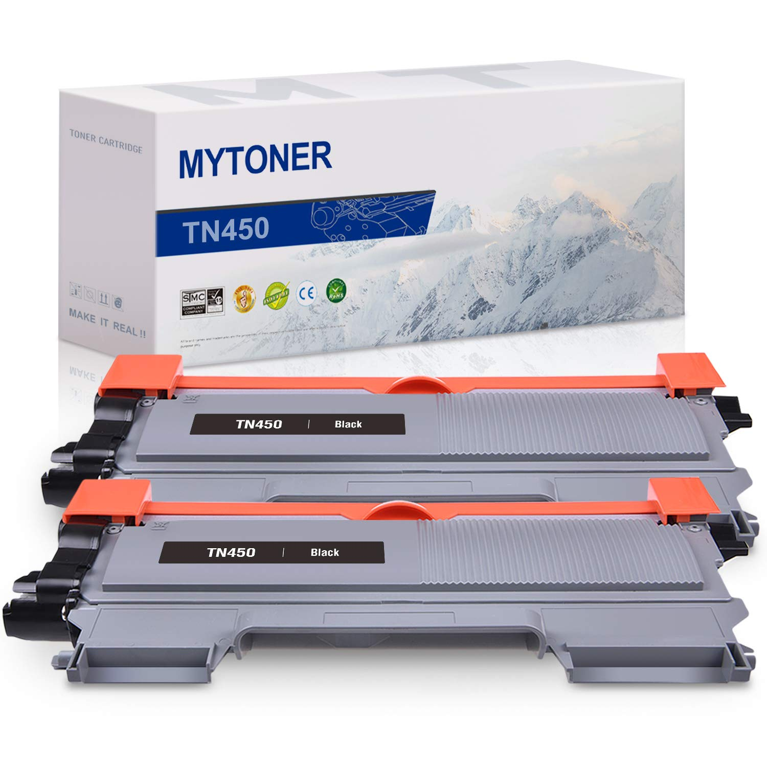 MYTONER Compatible Toner Cartridge Replacement for Brother TN450 TN-450 TN420 TN-420 High Yield Toner Printer Ink (Black, 2-Pack)