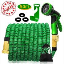 50ft Garden Hose Expandable,Flexible Water Hose with Solid Brass Fittings,Water Hose with 9 Function Spray Nozzle and Durable 4-Layers Latex, Leakproof Lightweight rubber Garden Water Hose