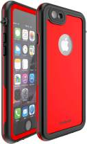 CellEver Compatible with iPhone 6 Plus / 6s Plus Waterproof Case Shockproof IP68 Certified SandProof Snowproof Full Body Protective Cover Designed for iPhone 6 Plus and iPhone 6s Plus KZ C-Red