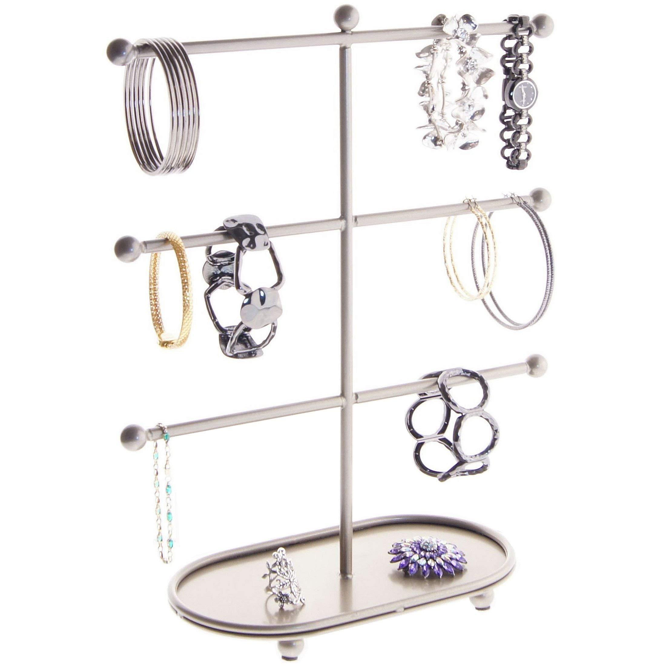 Angelynn's Bracelet Holder Jewelry Organizer Display Case T Stand Hanging Large Big Long Hoop Earring Storage Rack, Amy Satin Nickel Silver