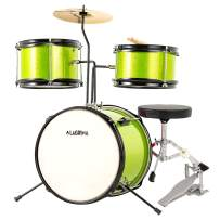 LAGRIMA 3 Piece Kids Drum Set with Adjustable Throne, Cymbal, Pedal & Drumsticks, Green