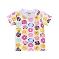 Toddler Kids Girls T-Shirt Cartoon Donuts Print Floral Top Shirt Short Sleeves Tees Summer