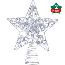 Blulu 2 Pieces 10 Inch Metal Star Tree Topper Shimmery Christmas Tree Top for Xmas Party Christmas Tree Decoration (Silver)