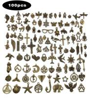 Antique Silver Bronze Vintage Charms Pendants Set for Jewelry Making & Crafting DIY Necklace Bracelet (Antique Bronze-100pcs Mixed Charms, Irregular)