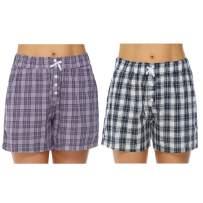 Hawiton Women's Plaid Cotton Sleeping Pajama Shorts Exercise Fitness Bottoms - Size X-Large