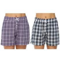 Hawiton Women's Plaid Cotton Sleeping Pajama Shorts Exercise Fitness Bottoms - Size Small