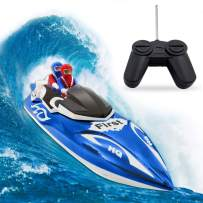 RC Boat, Remote Control Boat for Kids&Adults,2.4Ghz 4CH Electric Racing Boat for Pools and Lakes,Kids Boat Toy-Blue
