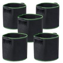 Garden4Ever 5-Pack 1 Gallon Grow Bags Heavy Duty Container Thickened Nonwoven Fabric Plant Pots with Handles
