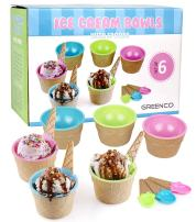 Greenco Set of 6 Vibrant Colors Ice Cream Bowls and Spoons