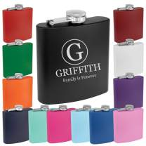 Personalized 6oz Powder Coated Flask Custom Engraved (Light Purple)