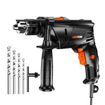 Hammer Drill, LOMVUM 1/2 In. 6.75 Amp Variable Speed dual-mode Impact Drill with 4 Drill Bit Set, 3000RPM, 360°Auxiliary Handle and Depth Gauge for Applying to Concrete, Brick, Masonry, Wood, or Steel