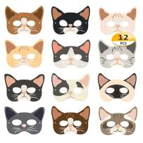 Cat Masks - 12pcs Halloween Masks Kitten Masks Party Favors for Kids Dress Up Costume Masks Best Gift for Children