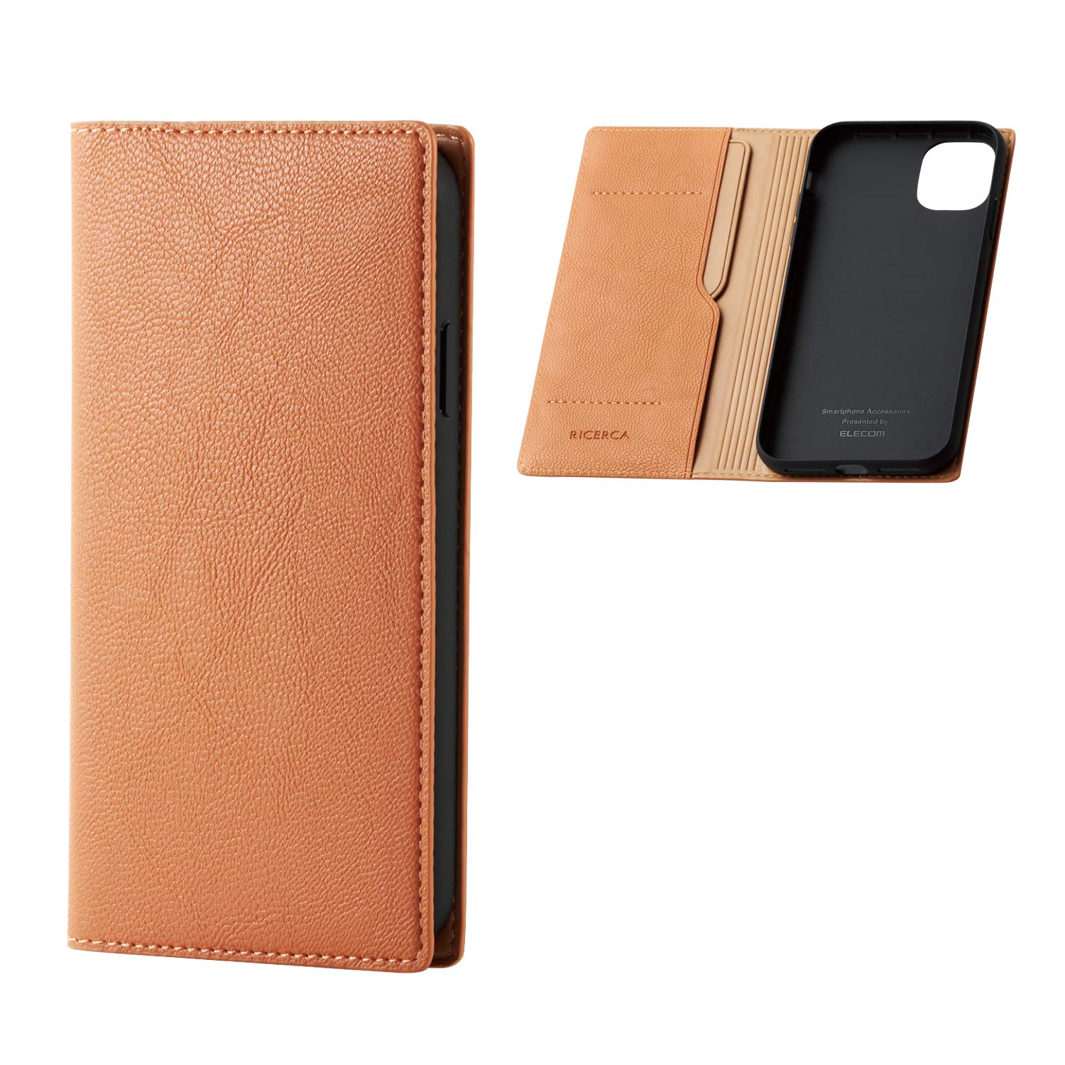 ELECOM Premium PU Leather Case Soft & Smooth Texture Flap Type/Compatible with iPhone 11/ Orange Squash/PM-A19CPLFYILDR