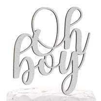 NANASUKO Baby Shower Cake Topper - Oh boy - Double Sided Silver Glitter - Premium Quality Made in USA