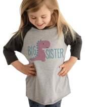 7 ate 9 Apparel Girl's Dinosaur Big Sister Grey Baseball Tee
