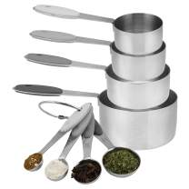 Cook with Color 8 Piece Measuring Cups and Measuring Spoon Set, Stainless Steel Measuring Cups with Soft Touch Silicone Handles, Nesting Liquid Measuring Cup Set, Dry Measuring Cups Set (Ombre Gray)