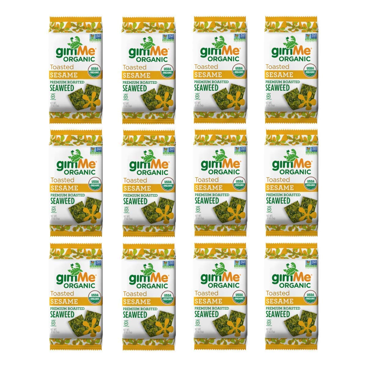gimMe Organic Roasted Seaweed - Toasted Sesame - 12 Count - Keto, Vegan, Gluten Free - Great Source of Iodine and Omega 3's - Healthy On-The-Go Snack for Kids & Adults