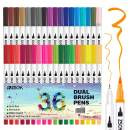 ZSCM Dual Tip Colored Brush Pens Art Markers Set, 36 Colors Fine Point Calligraphy Marker Journal Pens for Adult Coloring Books Drawing Bullet Journal Planner Calendar Art Projects