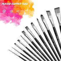 Paint Brushes Set of 12 for Acrylic Oil Watercolor, Artist Face and Body Professional Painting Kits with Synthetic Nylon Tips (Regular, Black)