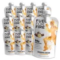 Fuel For Fire - Banana Cocoa (12 Pack) Fruit & Protein Smoothie Squeeze Pouch   Perfect for Workouts, Kids, Snacking - Gluten Free, Soy Free, Kosher (4.5 ounce pouches)