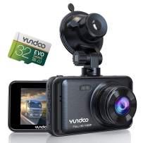 Dash Cam for Cars, YUNDOO Car Camera Contains 32GB SD Card, Full HD 1080P, 3 inches IPS Screen Wide-Angle Lens, G-Sensor, Loop Recording, Parking Monitoring