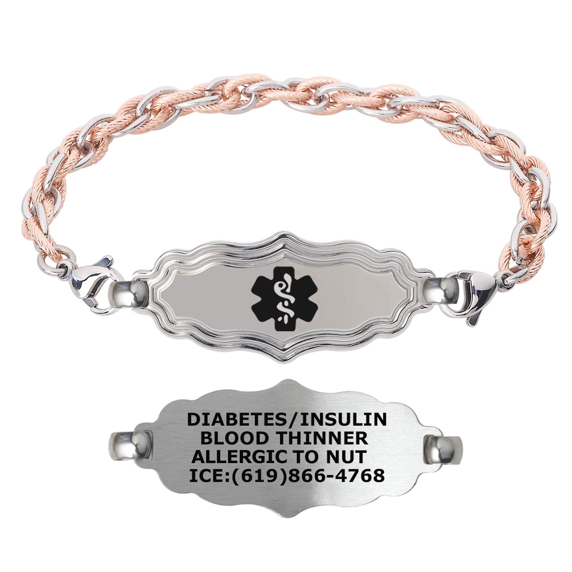Divoti Custom Engraved Medical Alert Bracelets for Women, Stainless Steel Medical Bracelet, Medical ID Bracelet w/Free Engraving – Victorian Art Deco Tag w/Inter-Mesh Rose Gold/Silver – Color/Size