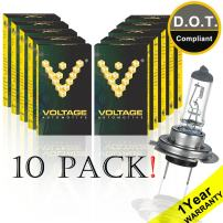 Voltage Automotive H7 Standard Headlight Bulb For Car Motorcycle (10 Pack) - OEM Replacement Halogen High Beam Low Beam Fog Lights