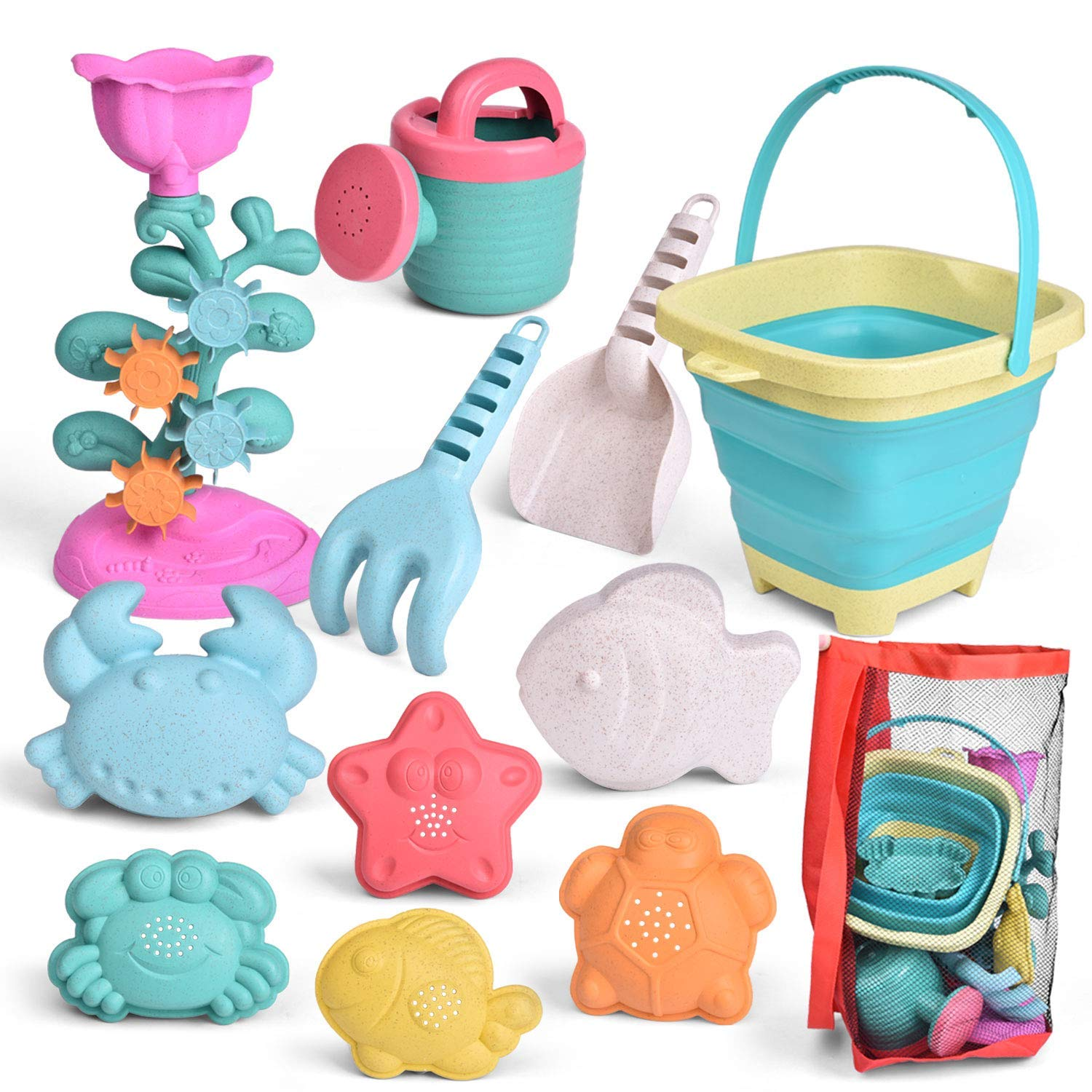 FUN LITTLE TOYS Kids Beach Sand Toy Set, Foldable Beach Bucket, Water Wheel, Watering Can, Shovel, Rake, Sand Molds and Mesh Bag, Eco-Friendly Sandbox Toys Kids Outdoor Toys 12 Piece