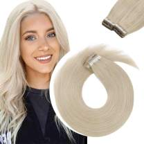 Sunny Tape in Hair Extensions Platinum Blonde #60 White Blonde Hair Extensions Tape in Invisible Tape Hair Extensions Human Hair 20pcs 18inch 50g