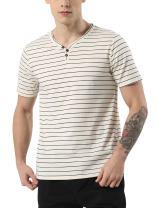 uxcell Men Casual Regular Fit Striped Short Sleeve Henley Shirts