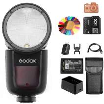 Godox V1-C TTL Speedlite and X2T-C Wireless Trigger Set,with 2.4G Wireless System and Panasonic 18650 Lithium Battery Support for 480 Full Power Pops, Compatible with Canon DSLR