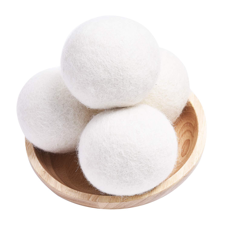 Wool Dryer Balls 4 Pack XL Laundry Dryer Balls Organic, Reusable Natural Fabric Softener, Chemical Free Eco Dryer Balls, 100% New Zealand Wool Handmade Reusable Balls Reduce Wrinkles