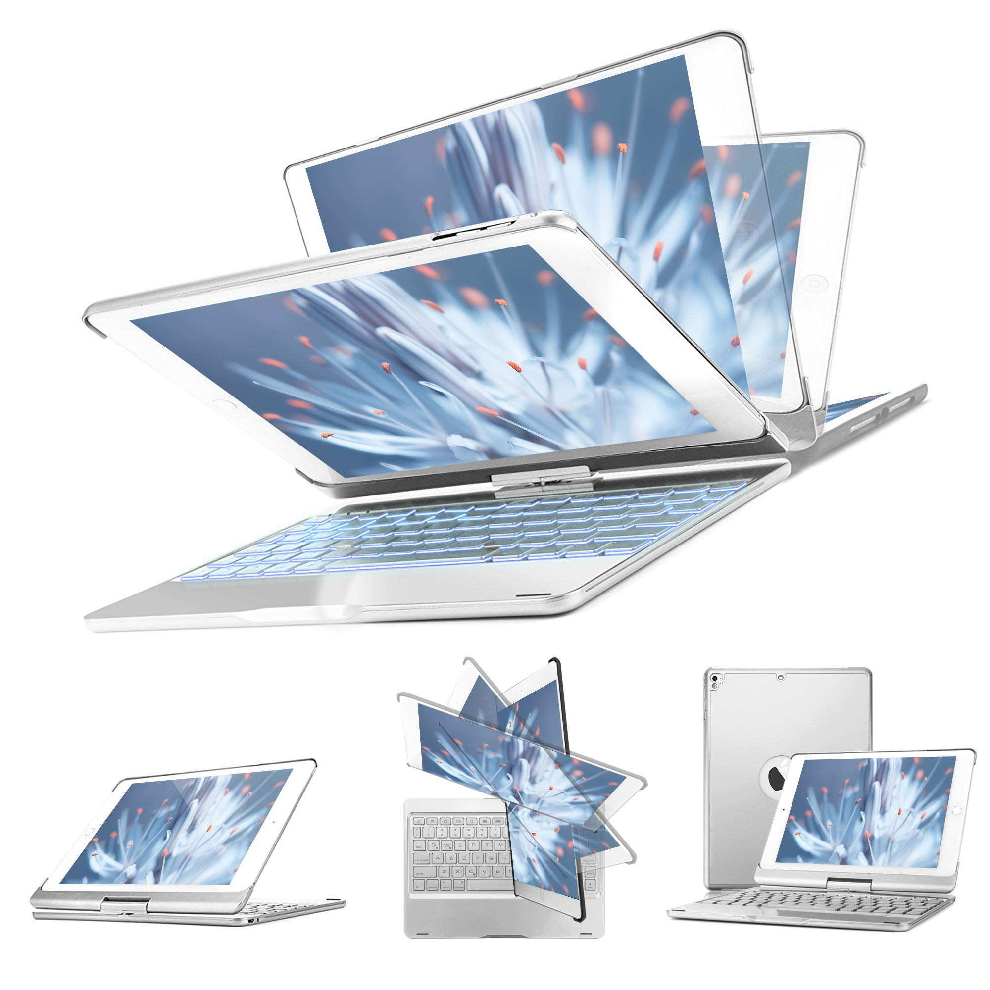 iPad Keyboard Case Compatible with 2018 iPad (6th Gen), 2017 iPad (5th Gen), iPad Pro 9.7, iPad Air 2, Air 1, 360 Rotatable Auto Sleep Wake iPad Case with Backlit Keyboard F180S (Silver)