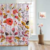 Uphome Floral Fabric Shower Curtain, Colorful Shabby Chic Rose Flower Cloth Shower Curtain 180 GSM Thick Water Repellent Pastel Spring Penny Bathroom Curtains for Shower with Hooks Set, 60 x 72