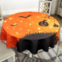 """Halloween Tablecloth - 70"""" Inch Round Tablecloths for Circular Table Cover - Fantastic Evil Night Icons Swirled Branches Haunted Forest Hill Bats Grave Holiday Table Cloth for Dining Party Home Decor"""