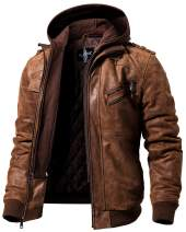 FLAVOR Men Brown Leather Motorcycle Jacket with Removable Hood