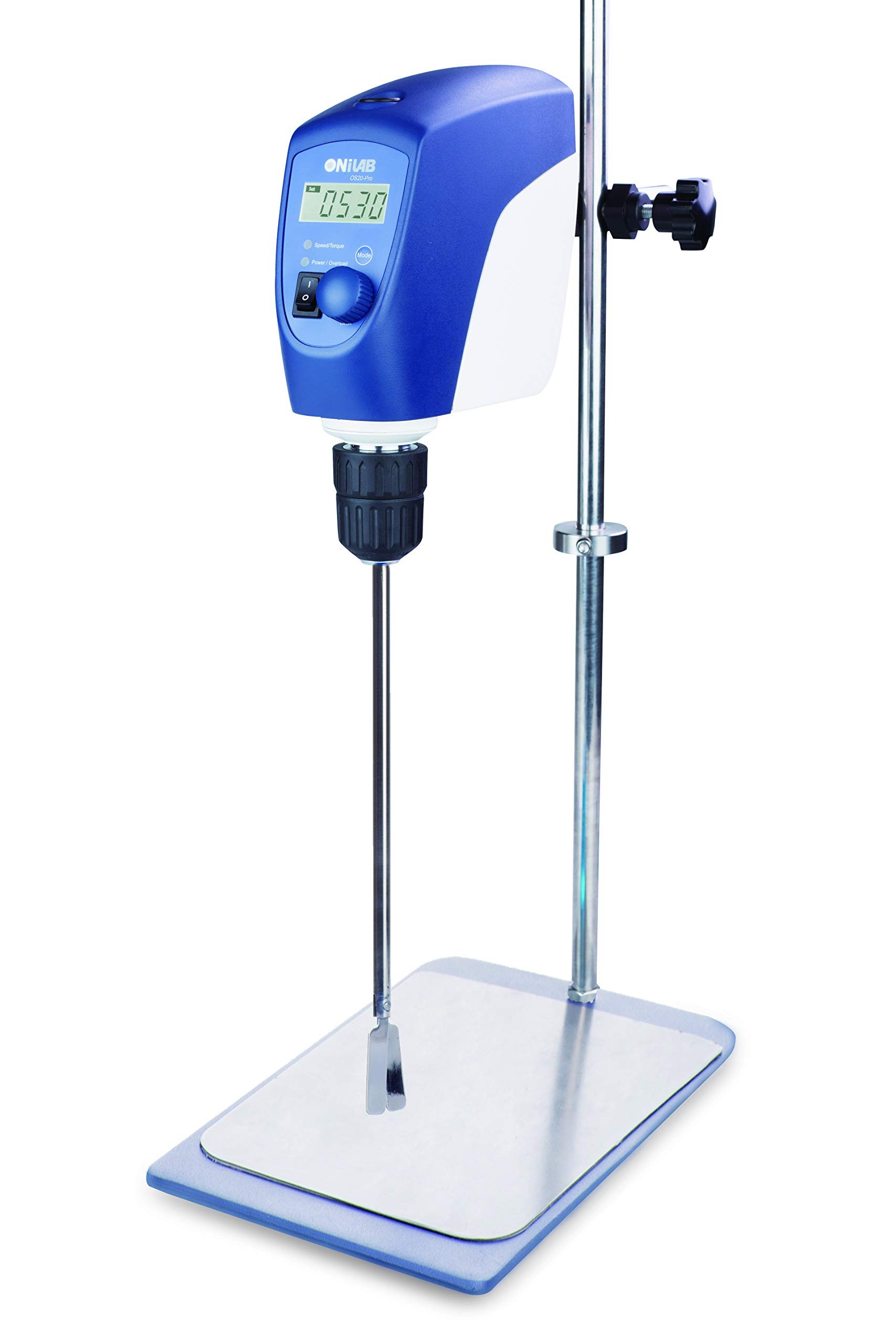 ONiLAB Electric Overhead Stirrer, LCD Digital Overhead Stirrer Mixer with Stirring Rod and Stand,,Powerful 20L ,10000 mPas , 50~2200RPM (Stand Included), Dark Blue
