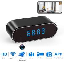 Hidden Spy Camera WiFi, WBESEV 1080P Clock Hidden Cameras Wireless IP Surveillance Camera for Home Security Monitor Video Recorder Nanny Cam 140°Angle Night Vision Motion Detection (Latest Version)