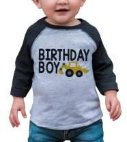 7 ate 9 Apparel Boy's Birthday Boy Construction Grey Raglan Tee