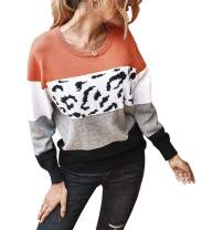 PRETTYGARDEN Women's Casual Long Sleeve Off Shoulder Knitted Sweater Leopard Print Color Block Loose Pullover Tops